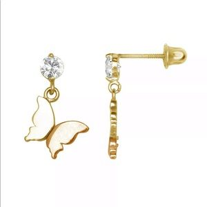 14k Yellow:White Solid Gold 🦋 CZ Stud Earring